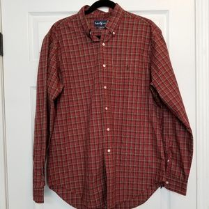 Polo Ralph Lauren red plaid button down large
